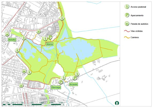 Panel de información parque de Salburua - Accesos