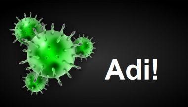 Se ve la imágen de un virus con la palabra Adi