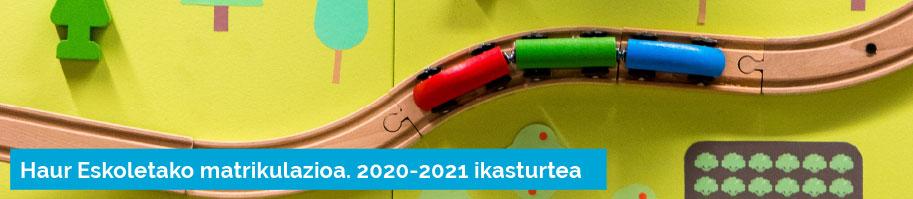 Haur Eskoletako matrikulazioa 2020-2021 ikasturtea