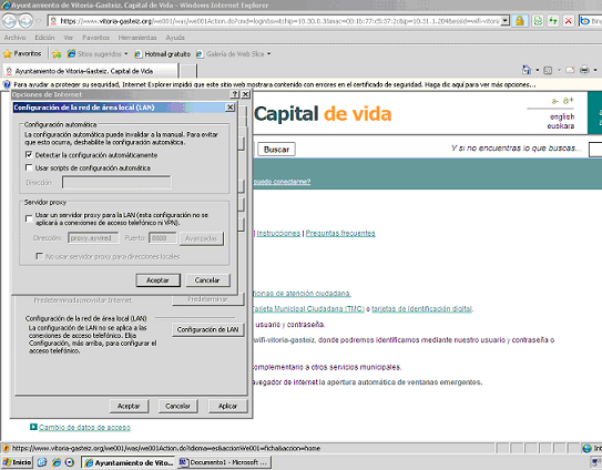 """imagen de la pantalla """"Configuración de la red de área local (LAN)"""""""