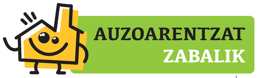 Se ve el logo del programa Auzoarentat Zabalik