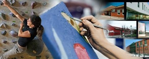 Mujer escalando, mano pintando, miniaturas de centros cívicos