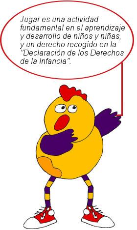 """Mascota Kirika con pancarta: """"Declaración de los Derechos de la Infancia""""."""