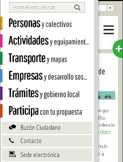 cabecera de la página para móviles desplegada