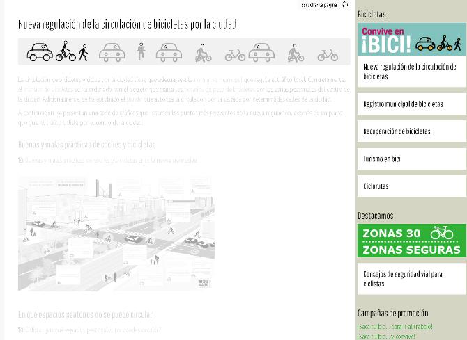 Menú lateral que presenta elementos relacionados al contenido de la página