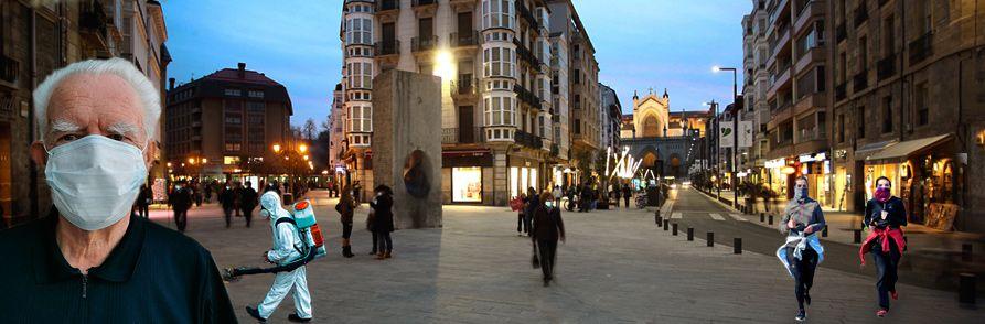 Personas y protección COVID en el centro de Vitoria-Gasteiz