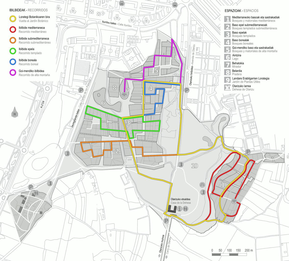 Mapa de los itinerarios