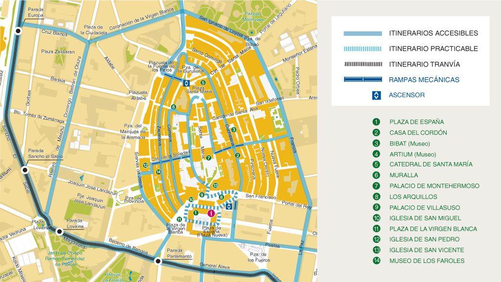 Mapa de itinerarios accesibles y practicables