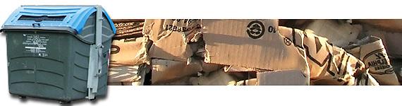 Kartoi pilatuak eta kontainer urdina