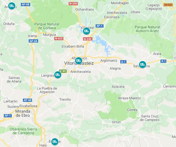 Mapa de aparcamientos de autocaravanas en Álava